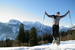 Snow shoe hiking Royalty Free Stock Photography