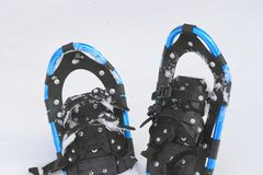 Snow shoes. Close up snow shoes on snow field (Iwate  Touhoku  Japan Stock Photos