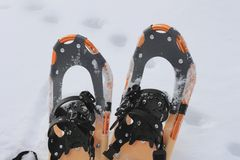 Snow shoes. Close up snow shoes on snow field (Iwate  Touhoku  Japan Stock Images