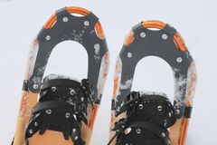 Snow shoes. Close up snow shoes on snow field (Iwate  Touhoku  Japan Royalty Free Stock Photo