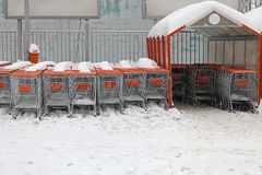 Snow shopping carts Stock Photo