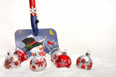 Snow Shovel With Christmas Ornaments Stock Photography