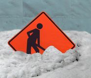 Snow Shoveling Health Warnings. Snow shoveling can be risky to your health. Heart attacks become more of a risk during cold weather and strenuous snow-clearing stock image
