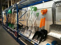 Snow shovels for sales at Selgros Stock Image