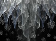 Snow Showers. A conceptual image of snowflakes falling through wisps of sheer white Stock Image