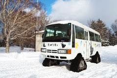 Snow Shuttle Bus. Shuttle bus to travel uphill to the ski resort in Japan Royalty Free Stock Photography