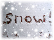 Snow sign. Words 'snow' written in the snow Royalty Free Stock Images