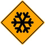 Snow Sign. Orange warning sign: attention snow Royalty Free Stock Photography