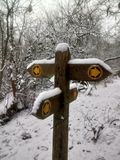 Wintery sign posy. Snow signs walks stock photography