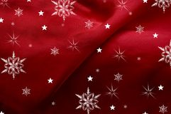Snow on Silk. Bright red silk fabric with creases Royalty Free Stock Image