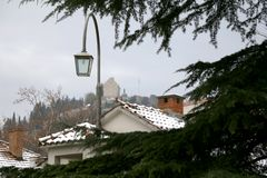Snow in Sinj, Croatia. Pine tree and street lamp in a garden, snow covering surrounding houses. Rural winter atmosphere in Sinj, Croatia. Selective focus stock photos