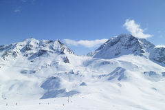 Snow ski mountain peaks landscape of French Alps Stock Photo