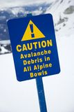 Snow ski resort caution sign. Stock Photos