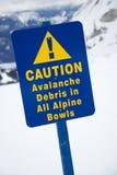 Snow ski resort caution sign. Stock Photos