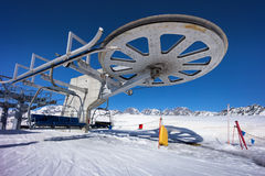 Snow on ski slope station Stock Photo