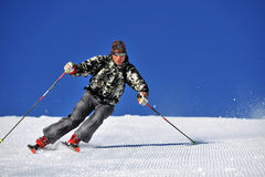 Snow Skier Against Blue Sky Royalty Free Stock Images