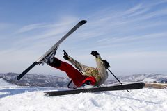 Snow Skier jumping over blue sky royalty free stock images