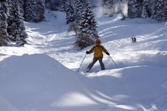Snow Skier in winter forest. In mountains Royalty Free Stock Image