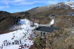 Snow skiers in Whakapapa skifield on Mount Ruapehu Stock Photos