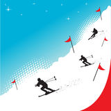Snow skiing. Abstract colorful illustration with skiers skiing through red flags Royalty Free Stock Photography