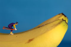 Snow Skiing figures on banana Stock Photo
