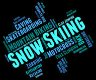 Snow Skiing Means Winter Sports And Mountain-Skier Royalty Free Stock Photo