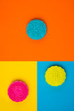 Snow skin mooncake on coloful background. Top view. Royalty Free Stock Photo