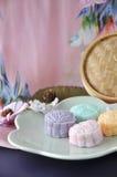 Snow Skin Mooncake on Pink Background Royalty Free Stock Photo