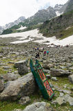 Snow sled is very popular activity at Sonamarg in Kashmir. Royalty Free Stock Images