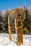 Snow sledge standing in winter countryside Royalty Free Stock Photography