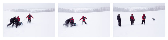 Snow sliding. A collage of pictures showing people pushing and pulling their friends on a sled down a snowy hill during a snowy day Stock Image