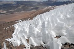 Snow on slope of Ojos del salada, Argentina-Chile Stock Images