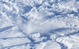 Snow slope for skiing. In the park in nature Royalty Free Stock Image