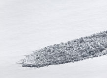 Snow slope with trace of avalanche Stock Images