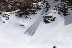 Snow slope with trace of avalanche Royalty Free Stock Images