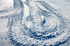 Snow Slope With Traces Of The Snowmobile Royalty Free Stock Images