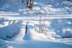 Snow and small tiny bridge Royalty Free Stock Photography
