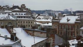 Snow smoke roof winter stock footage