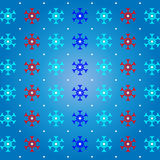 Snow and snowflake on blue pattern background Royalty Free Stock Photos