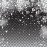 Snow snowflakes on a transparent background. Falling Christmas Stock Image