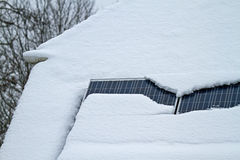 Snow on Solar Panels Royalty Free Stock Photos