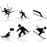 Snow sports. Icon illustrations showing different winter sports performed on snow surfaces Stock Photography