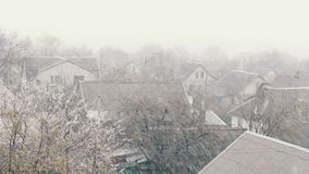 Snow in spring.Snow falls on the street trees in green foliage and blooming. Snow in spring.Blizzard in the spring. Strong snow falls on the street trees in stock footage