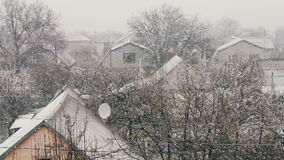 Snow in spring.Snow falls on the street trees in green foliage and blooming. Snow in spring.Blizzard in the spring. Strong snow falls on the street trees in stock video footage