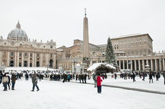Snow in St. Peter's square Stock Photo
