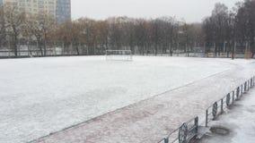 Snow on stadium stock footage