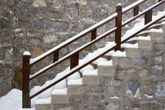 Snow stair. The outdoor stair covered with snow Royalty Free Stock Photography