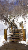 Snow stair walkway and railing in the forest Noboribetsu onsen Royalty Free Stock Images