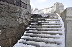 Snow stairs. Winding staircase with melting snow Stock Image