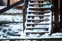 Snow on the stairs stock image